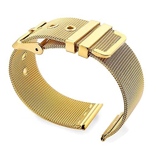 OWZSAN Relojes de señora 18mm 20mm 22mm 24mm Loop Correa de muñeca Hombres Mujeres Universal Acero Inoxidable Oro Negro Pulsera Accesorios Cuero Metal Acero Inoxidable Correas de Acero Inoxidable