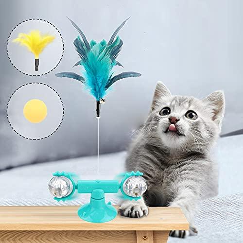 Ossky Feather Windmühle Katzenspielzeug, Interaktives Indoor Spielzeug, Ball Katzenspielzeug mit Katzenminze, Feather Bell und Ball, Interactive Feather Stick