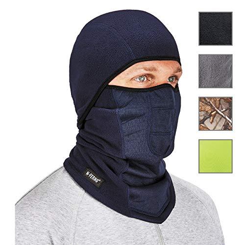 Ergodyne - 16851 N-Ferno 6823 Balaclava Ski Mask, Wind-Resistant Face Mask, Hinged Design to Wear as Neck Gaiter, Navy