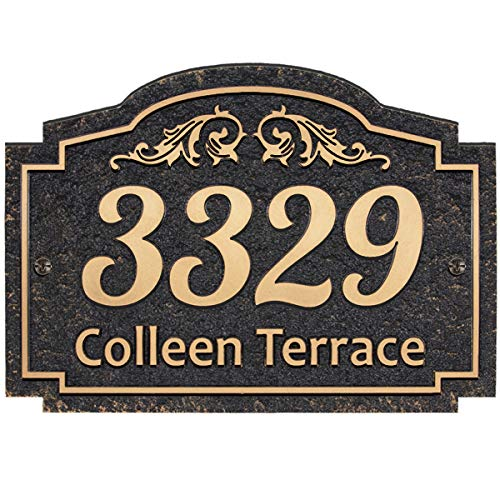 Handcrafted Carving Vintage Address Plaque Home Address Sign Decorative Personalized House Sign Garden Wall Plaque - Imitation Metal - Any Font - Arbitrary Layout (Garden)