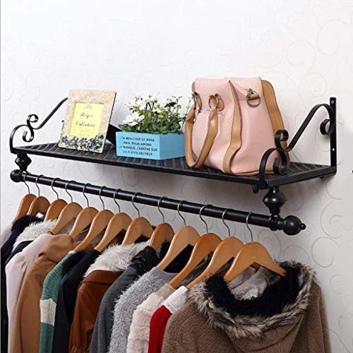 KSTORE Perchero Estante de la Pared de Madera Maciza Coats Holder Combinados de Base montado en la Pared para Sunset Room Pasillo,Negro,120 * 28cm