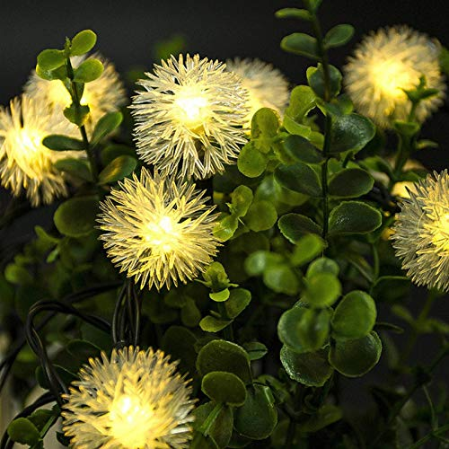 Solar Furry Ball Light String 5m 20LED 8 Kinds of Lighting Patterns Garden Garden Decoration Holiday Waterproof String Light Warmwhite