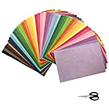 330 Sheets Craft Tissue Paper,A4 Size 33 Mixed Colors Gift Wrapping Paper Sheets Crepe Paper Art Tissue Paper for Diy Gift Boxes Fillers Gift Boxes Decoration Wedding Party, Extra Small Scissors.