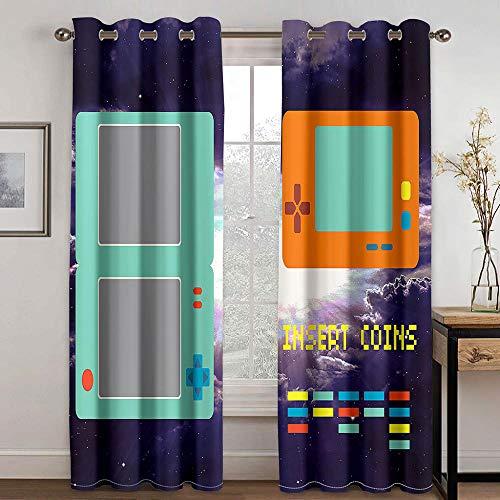 Cortinas Opacas Visillos Confeccionados con Ojales para Salon Cocina Habitacion Infantil Cortina Termicas Aislantes Frio y Calor para Dormitorio - Caja de Juego 170 × 255 cm × 2 Paneles