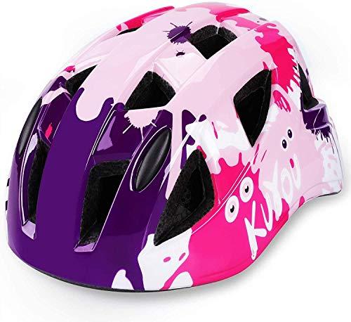 Casco de bicicleta para niños con carcasa ABS, ajustable, certificación CE para bicicleta, monopatín, scooter, BMX, 3 – 13 años, niño, niña, color rosa
