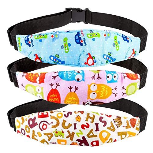 RYMALL 3pcs Reposacabezas para carritos de Coche para Bebés y Niños, Arnés Cinturón Ajustable de Seguridad Fijación Protección de Cabeza Posicionador de Asientos del Sueño