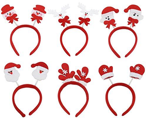 (Paquete de 6) Mujeres Niñas Lindo Diadema de Navidad Decoración de Santa Claus Muñeco de nieve Festival Banda para el Cabello Accesorios para el Cabello Regalo de Navidad