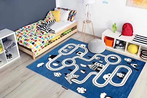 Kindertapijt Petit voor babykamers, Speel vloerkleden, Kinderkamer, Stad Straten Blauw 160x220 cm
