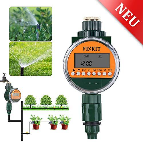 FIXKIT Bewässerungscomputer mit Regensensor, Bewässerungsuhr IP68 Wasserdichter LCD Bildschirm, Bewässerungsprogramme bis zu 30 Tagen, ideal zur Rasen, Sprinkler, Blumenbewässerung, Rasenbewässerung