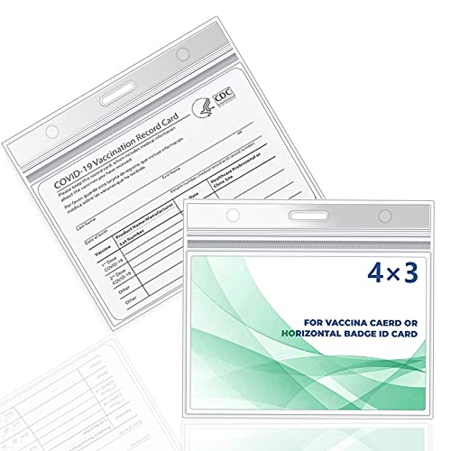 Clear Vaccination Card Protector 4x3 in, Upgrade CDC Immunization Record Vaccine ID Card Name Tag Badge Card Holder, Clear Vinyl Plastic Sleeve Cover Waterproof Resealable Zip for Travel (2)
