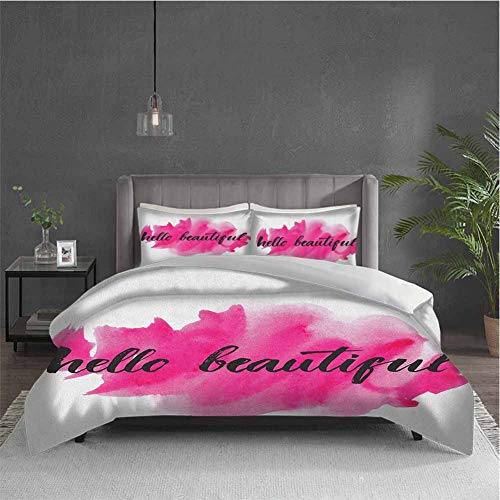 Hello 3-pack (1 duvet cover and 2 pillowcases) bedding Inspiring and Motivational Quote in Hand Lettering Calligraphic Design on Pink Polyester (Full) Magenta Black