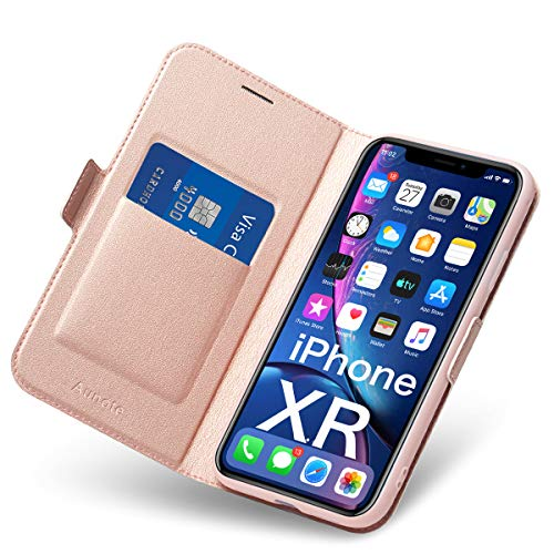 Aunote Hülle iPhone XR, Handyhülle iPhone XR, Schutzhülle iPhone XR, Tasche iPhone XR, Klapphülle iPhone XR, Hülle iPhone 10 XR, Etui Folio, Flip Phone Cover Hülle, Hülle Apple XR Klappbar. Rosegold