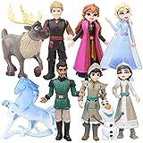 Princesa Congelada Cake Topper, Hilloly 9 Pcs Frozen Cake Topper, Mini Juego de Figuras Niños, Pastel Decoración Suministros, Baby Shower Fiesta de Cumpleaños Pastel Decoración Suministros