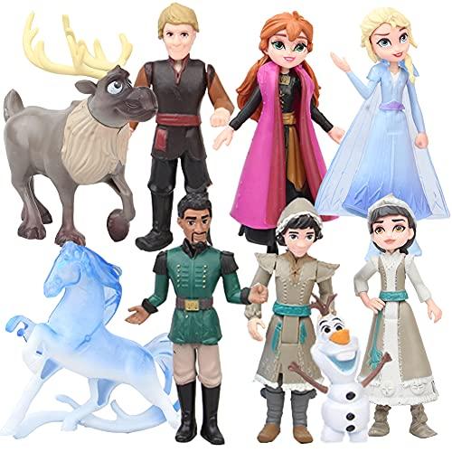 Principessa Congelata Cake Topper, Hilloly 9 Pcs Frozen Cake Toppers, Principessa Congelata Bambole, per Bambini e Baby Shower Forniture per la Decorazione della Torta della Festa di Compleanno