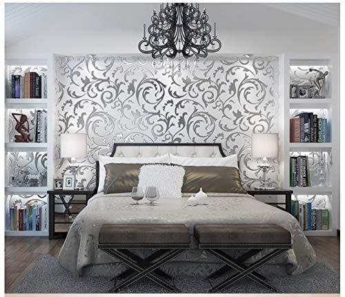 Tapete Silber Grau Abstraktes Blatt Moderne Vliestapete Poster Wand-dekor Für Hotel Büro Wohnzimmer Küche