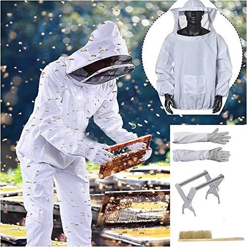 XYYMC 4PCS Apiculture Costume Ensemble d'outils - Apiculteur Suit Veil Outils Kit,Cadre, Gants, Brosse d'abeille