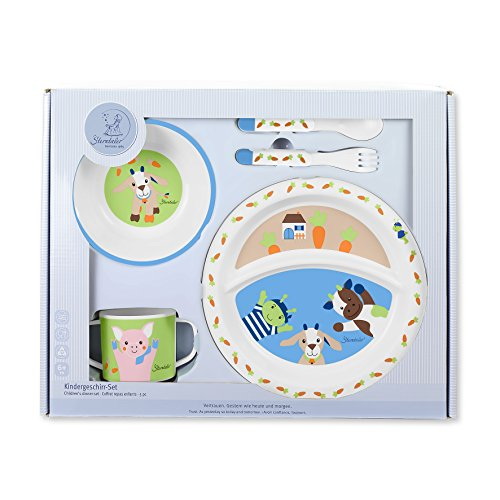 Sterntaler Set de vaisselle Wieslinge, Assiette, bol, cuillère, fourchette, Tasse, Âge: Pour les bébés à partir de 6 mois, Multicouleur
