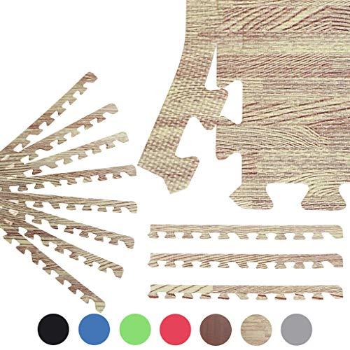 Sporttrend 24 - 8X Randstücke für Schutzmatten (60x60 cm) in schwarz und weiteren Farben | Bodenschutzmatte Unterlegmatte für Fitnessgeräte Sportgeräte (Holzoptik Hellbraun)