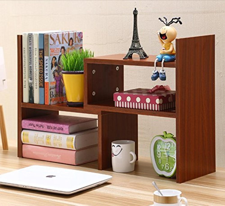 Creative telescoping bookshelves desktop bookshelves table shelf rack shelf easy office little bookshelf , teak wood color (high-end)