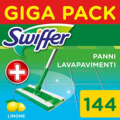 Swiffer Lavapavimenti Wet, 144 Panni Umidi, Limone, Maxi Formato, Pulizia Igienica Profonda, Rimuove Sporco e Batteri, per Tutti I Tipi di Pavimenti