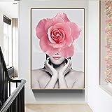 SADHAF Moderne Mode Rosa Blume Frauen Leinwand Kunst Poster Druck Wandbild Schlafzimmer Wohnkultur...
