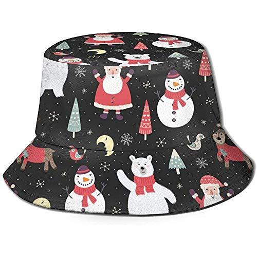 Not Applicable Bucket Hat,Weihnachtsnacht-Muster Mit Niedlichem Schwarzen Eimer-Hut des Schneemanns, Packbare Erwachsene Eimer-Kappen Für Die Wander-Angelhochzeit