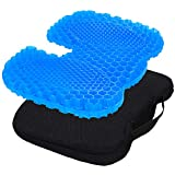 Gel Seat Cushion, Comfortable U-Shaped Ergonomic Honeycomb Design Seat Cushion with Non-Slip Seat Cover for Pressure Relief Back Pain Suitable for Home Office Chair Cars Wheelchair