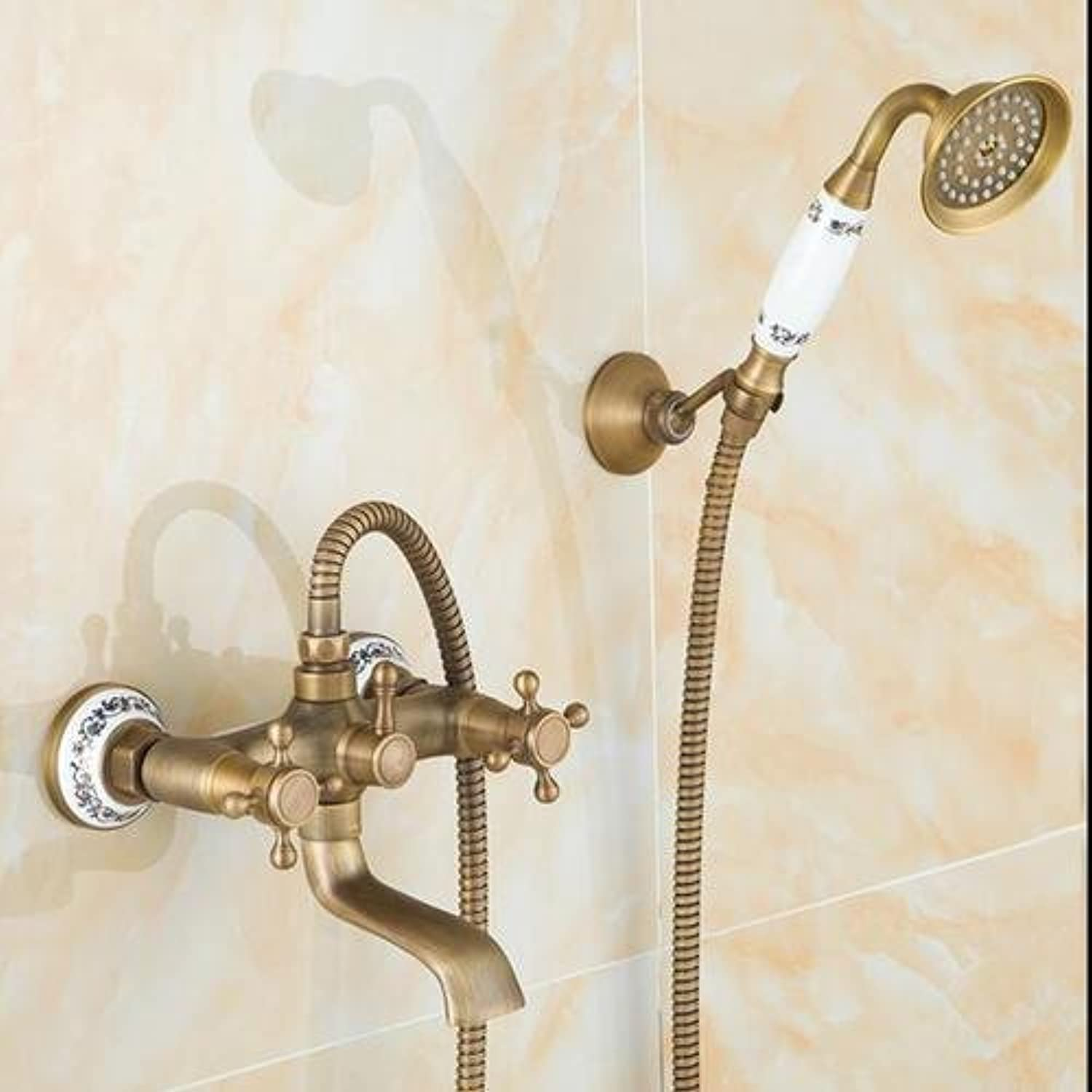 To The Wall Glass Fitting Glass Shower with Hand Shower Antique Bronze Resign Assemblies