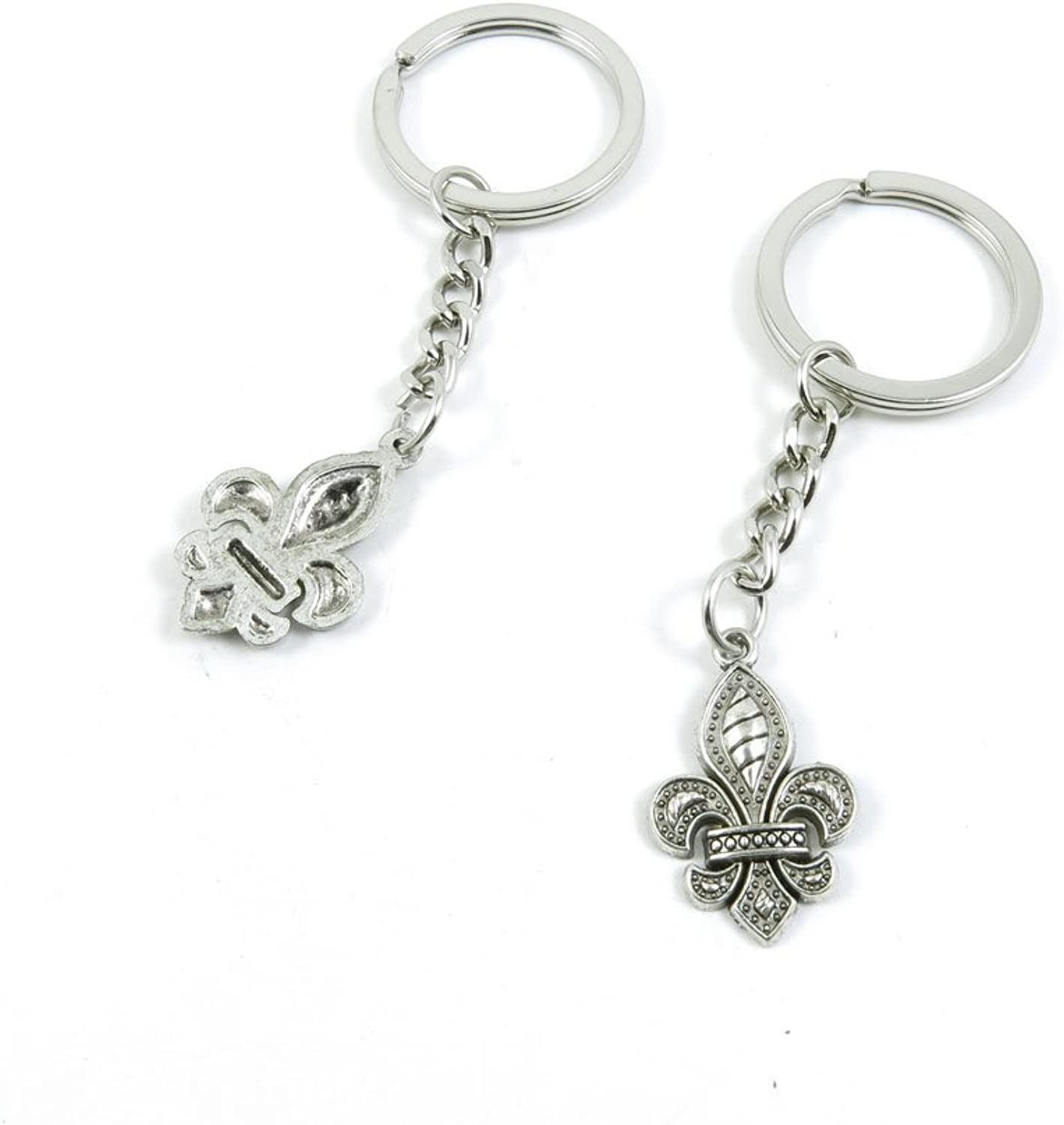 100 Pieces Keychain Keyring Door Car Key Chain Ring Tag Charms Bulk Supply Jewelry Making Clasp Findings M4PT3U Fleur De Lis Iris Lily