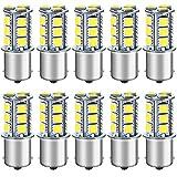 DEFVNSY Lot de 10-6000K Blanc 1156 BA15S 1141 1003 1073 7506 Ampoules LED 5050 18-SMD Lampes pour 12V Intérieur RV Camper Remorque Éclairage Bateau Yard Frein Feux Arrière