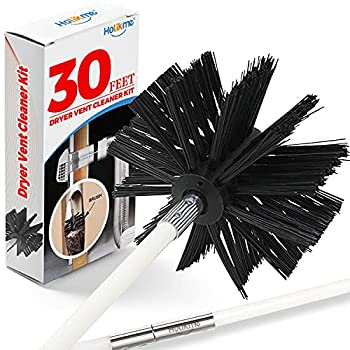 Holikme 30 Feet Dryer Vent Cleaning Brush Lint Remover,Fireplace Chimney Brushes Extends Up to 30 Feet Synthetic Brush Head Use with or Without a Power Drill