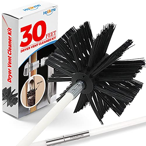 Holikme 30 Feet Dryer Vent Cleaning Brush, Lint Remover,Fireplace Chimney Brushes, Extends Up to 30 Feet, Synthetic Brush Head, Use with or Without a Power Drill