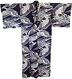 XXLarge Kimono Yukata Japanese Robe (XXLarge) Navy Blue, White