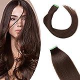 14'(35cm) SEGO 10PCS Extensiones Adhesivas Naturales Pelo Humano sin Clip [#2 Castaño Oscuro] Cabello 100% Remy Liso Balayage Tape in Human Hair (20g)