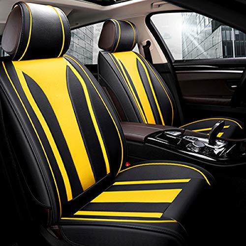 JINRYIGK Funda de Asiento de Coche Universal para Renault Logan 2 Laguna 2 Sandero Fluence Megane 2 3 4 Symbol Kadjar Kangoo Sander, Amarillo sin Almohada