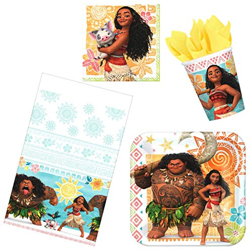 Great Deal! Disney Moana Party Supplies Pack 16 Guests – Birthday Bundle Includes Paper Plates, Cups, Napkins Table Cover – Plus Party Planning eBook Checklists (Basic)