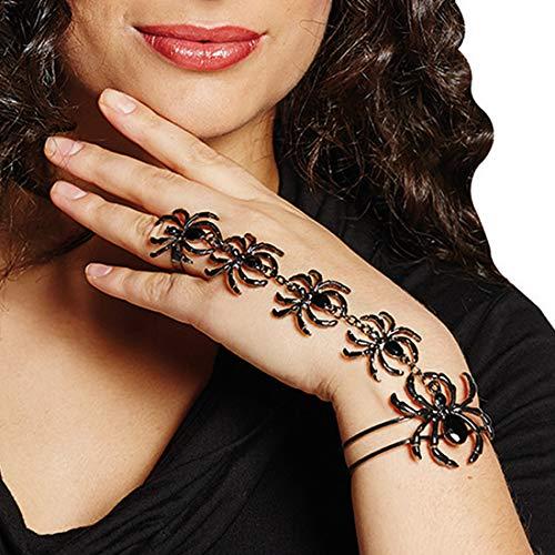 Gothic-Schmuck Spinne bestehend aus Ring mit Armband / Schwarz / Hexenschmuck Schwarze Witwe geeignet zu Gothic Abend & Horror-Party