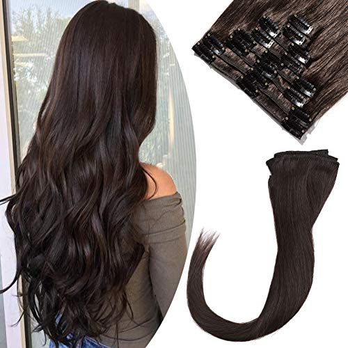 Clip in Remy Hair Extensions Human Hair Dark Brown for Women 10 inch Seamless Clip on Real Hair Skin Weft Clip ins Thin 8pcs Standard Weft Long Straight Hairpieces for Full Head #2