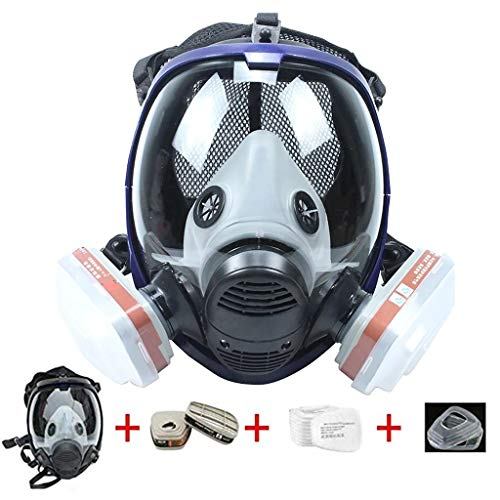15 in1 Full Facepiece Respirators, Gas Mask Respirator with Carbon Filters, Wide Field of View Full Face Lightweight Respirator Painting Spraying Decoration Woodworking