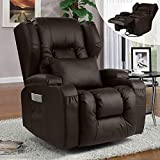 Recliner Chair, 360° Swivel Rocker Recliner Chairs, Ergonomic Manual Wingback Reclining Chair for Living Room, Upholstered Leather Recliner, Home Theater Seating with Lumbar Pillow/Cup Holders(Brown)