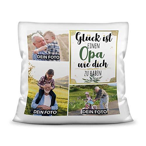Kissen mit Füllung - Fotocollage selbst gestalten mit Spruch für Opa - GLÜCK - mit DREI eigenen Fotos - Geschenkidee Fotokissen - Kissen Polyester - Weiß