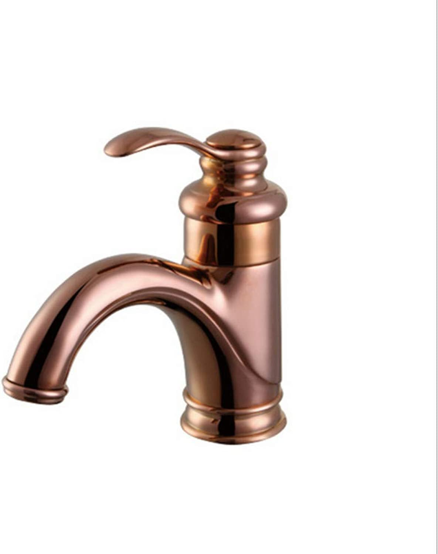Xiujie Faucet Hot and Cold Water Faucet European pink gold Bathroom Wash Basin Faucet Copper Faucet Single Handle Double Faucet