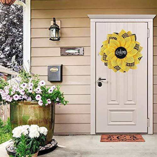 Bee Wreath for Front Door Handmade 13.5 Inch Sunflower Hanging Pendants Ornaments for Front Door Happy Honey Bee Decor,Garland Hanging Pendants Wedding