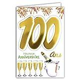 Age Mv 69-2046 Carte Anniversaire 100 ans Homme Femme motif Flutes Bouteille Champagne Feu d'artifice
