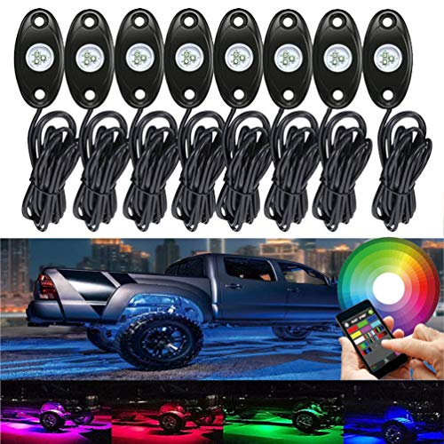8 Pod RGB Led Rock Lights Kits with Bluetooth Control Waterproof Neon Lights for Cars Off Road Truck SUV ATV (8 Pods)
