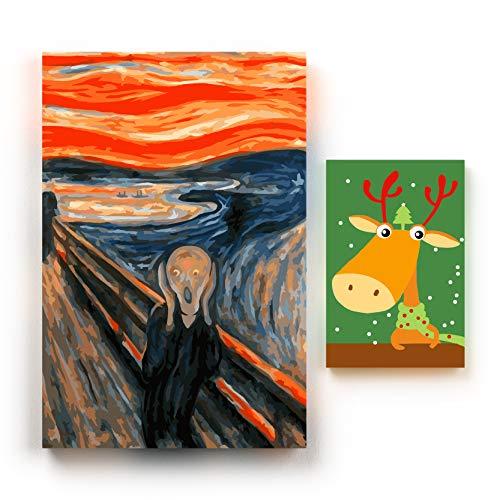 COOLDOT Pintura por Números para Niños y Adultos - Pintura Acrílica DIY Todos los Niveles de Habilidad - Incluye 2 Grabados con Marco/Enmarcación