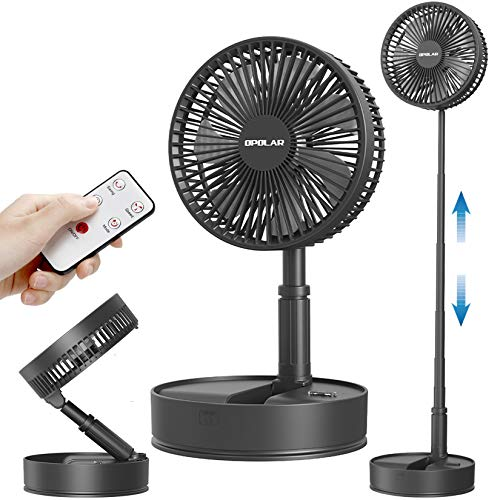 OPOLAR Battery Operated Oscillating Fan with Remote Control, 7200mAh Foldaway Table Fan, Rechargeable Pedestal Fans, 3 Speeds & Natural Wind, Timer, for Indoor, Travel, Camping Outdoor Activities