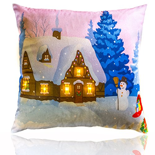 Snowman with Light House Christmas Throw Pillow