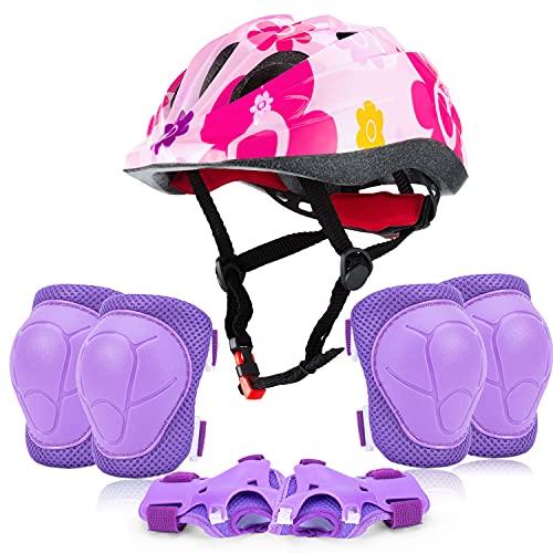 Rodilleras para niños, equipo de protección para casco de bicicleta para niños de edades 3 – 8, coderas ajustables para niñas para jóvenes y protectores de muñeca para patines de ruedas