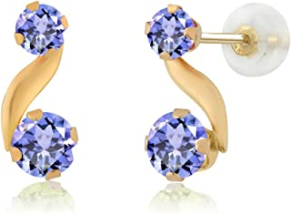 Gem Stone King 0.84 Ct Round Cut Blue Tanzanite 14K Yellow Gold Stud Earrings